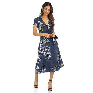 Yumi Kim Dress S Muted Blue Floral Silk V-Neck Tie